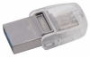 Накопитель USB 3.1 + Type-C Kingston DT Micro 16Gb Metal Silver (DTDUO3C/16Gb)